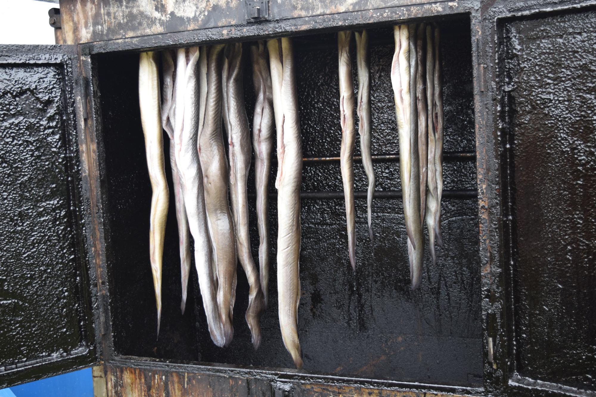 Aalräucherei Auf Einem Markt.